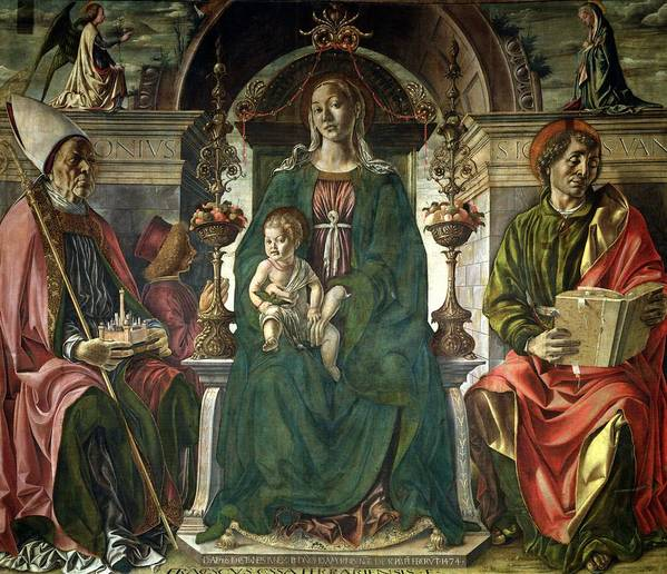 The Poster featuring the painting The Virgin And Saints by Francesco del Cossa