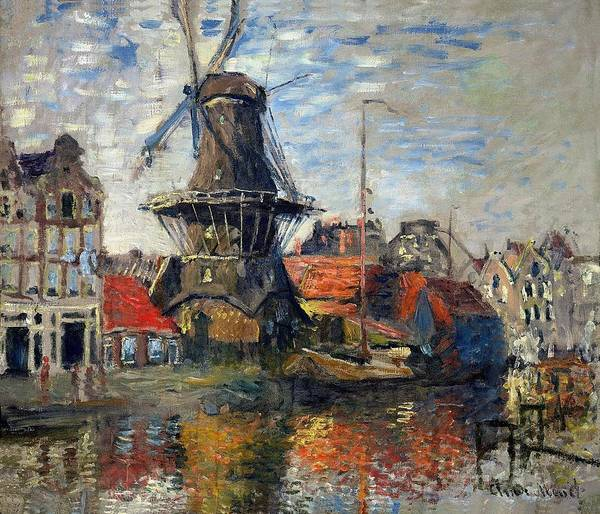 Claude Monet Poster featuring the painting The Windmill Amsterdam Claude Monet 1874 by Movie Poster Prints