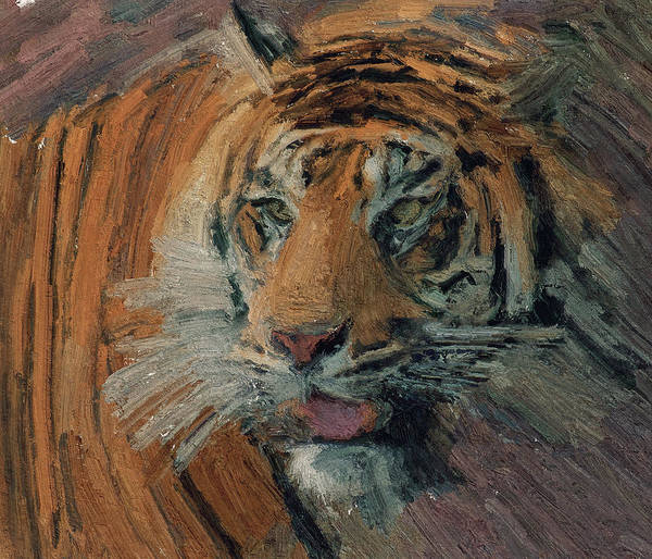 Tiger Poster featuring the digital art Tiger On Hunting by Yury Malkov