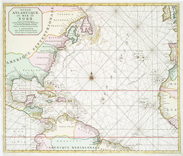 Vintage Atlantic Ocean And North America Map - 1700s Poster