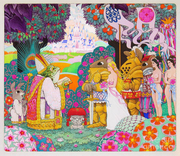 Fantasy Illustration; Medieval; Fantasy; Castles; Erotic Fantasy; Knights And Ladies; Frogs; Rabbits Poster featuring the painting Wedding by Terry Anderson