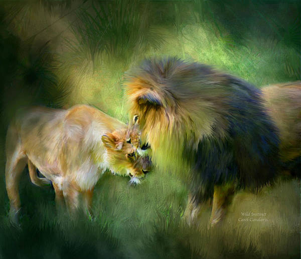 Lion Poster featuring the mixed media Wild Instinct by Carol Cavalaris