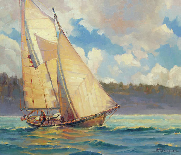 Sailboat Poster featuring the painting Zephyr by Steve Henderson