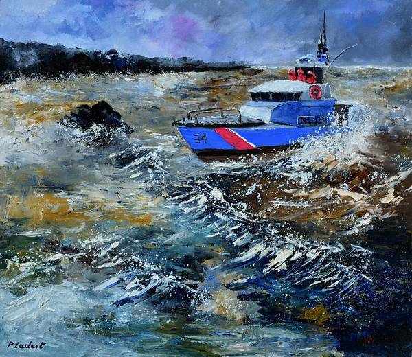 Seascape Poster featuring the painting Coastguards by Pol Ledent