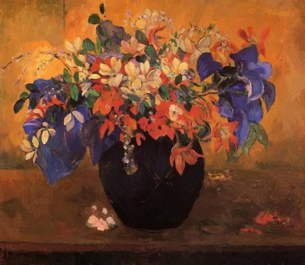 Vase Poster featuring the painting Vase Of Flowers 1896 by Gauguin Paul