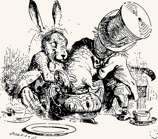 Dormouse In The Teapot Mad Tea Party Poster featuring the drawing Dormouse In The Teapot Mad Tea Party by John Tenniel