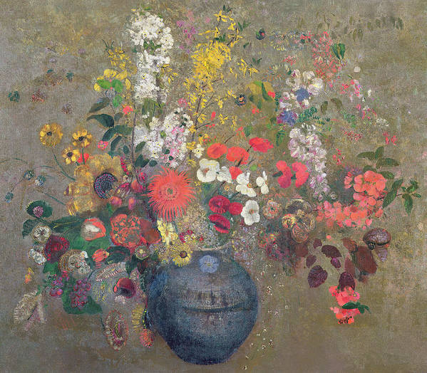 Vase; Still Life; Blue; Pink; Yellow Poster featuring the painting Flowers by Odilon Redon