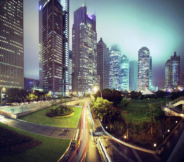 Horizontal Poster featuring the photograph Night Fog Over Shanghai Cityscape by Blackstation