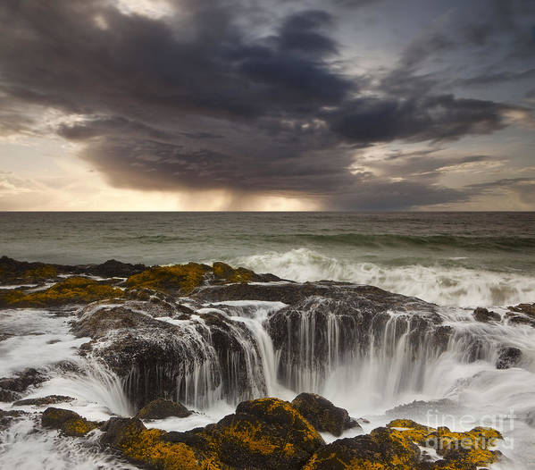Coast Poster featuring the photograph Thor's Well by Keith Kapple