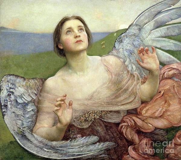 Personification; Wings; Angel; Female; Seeing; Pre-raphaelite; Victorian Poster featuring the painting Sense Of Sight by Annie Louisa Swinnerton
