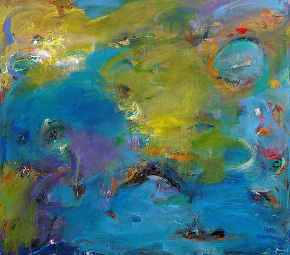 Abstract Expressionistic Poster featuring the painting Still Waters Run Deep by Johnathan Harris