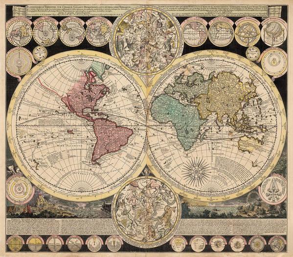 Antique World Map Poster by Adam Friedrich Zurner