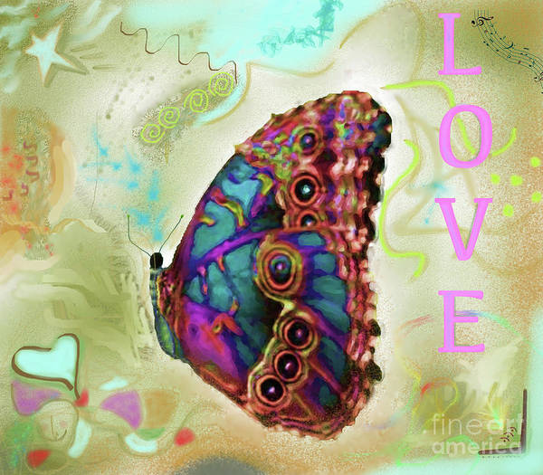 Butterfly Poster featuring the digital art Butterfly In Beige And Teal by Shelly Tschupp
