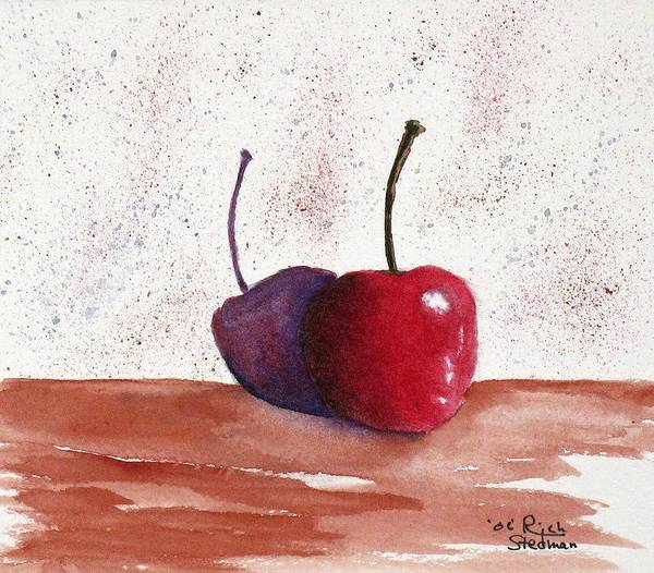 Food And Beverage Poster featuring the painting Cheery Cherry by Rich Stedman
