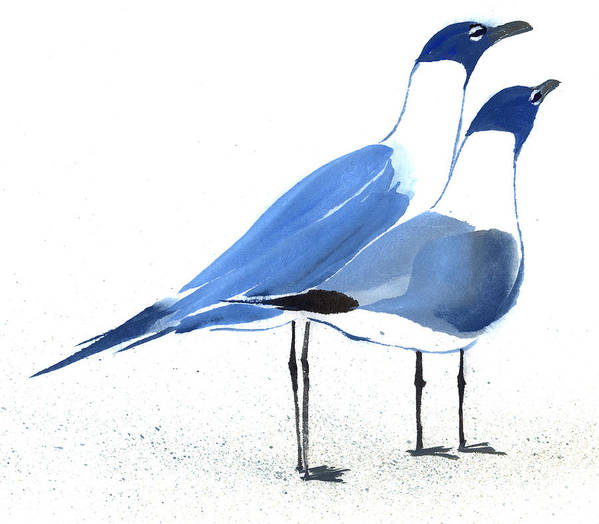 A Couple Of Sea Birds Standing Still.  This Is A Contemporary Chinese Ink And Color On Rice Paper Painting With Simple Zen Style Brush Strokes.  Poster featuring the painting Content by Mui-Joo Wee