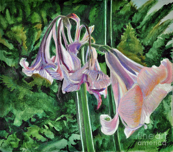 Garden Poster featuring the mixed media Glowing Amaryllis by Lori Moon