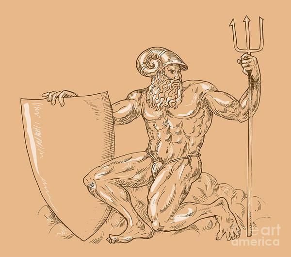 King Poster featuring the digital art God Neptune Or Poseidon by Aloysius Patrimonio
