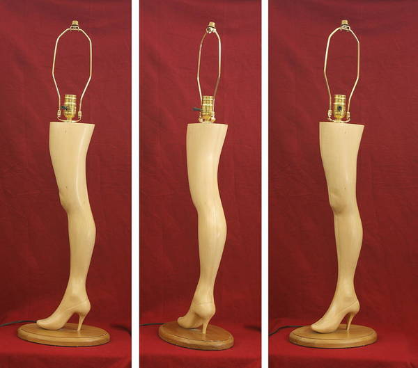 Wood Carving Poster featuring the sculpture Hand Carved Wood Leg Lamp by Mike Burton