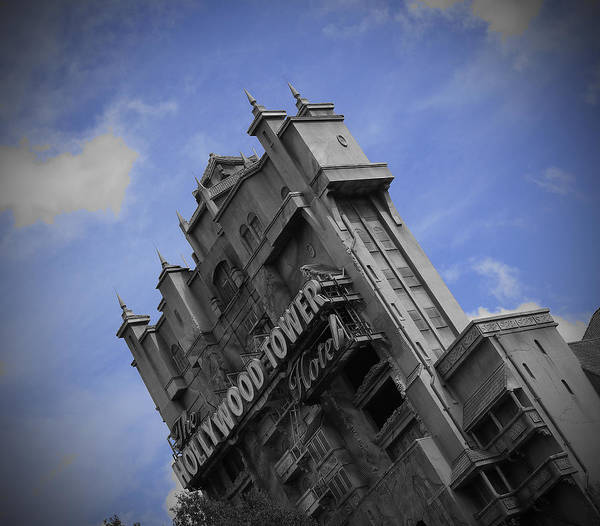 Walt Disney World Hollywood Studios Tower Of Terror Black And White Blue Sky Poster featuring the pyrography Hollywood Studio's Tower Of Terror by AK Photography