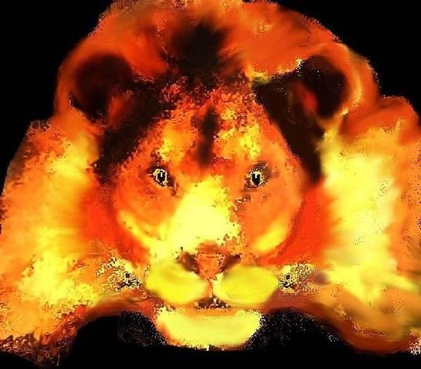 Lion Animal Orange Red Poster featuring the digital art Leo by Bethwyn Mills