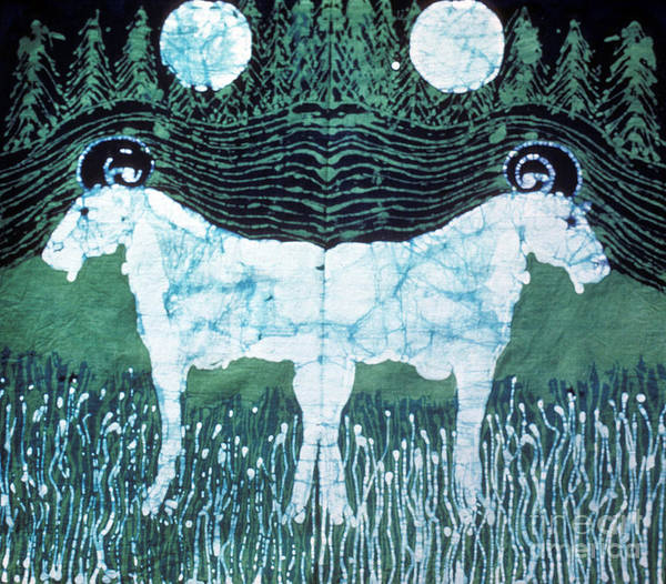 Goat Poster featuring the tapestry - textile Mirror Image Goats In Moonlight by Carol Law Conklin