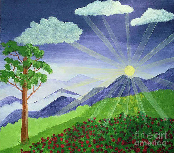 Landscape Poster featuring the drawing Mountain Sunrise by Sherri Gill