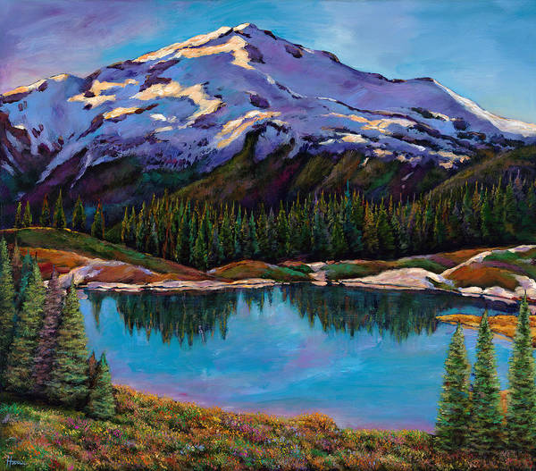 Mountains Poster featuring the painting Reflections by Johnathan Harris