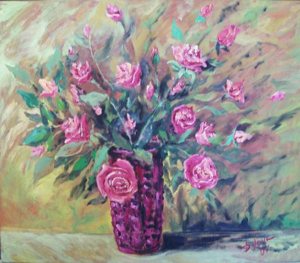 Flowers Painting Poster featuring the painting Roses by Vladimir Domnicev
