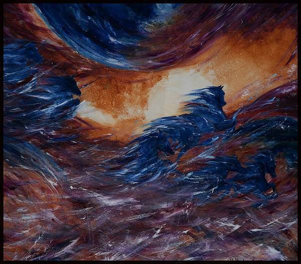 Abstract Poster featuring the painting sky herd IV by Jennifer White