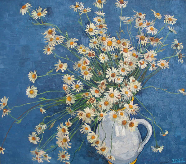 Flower Poster featuring the painting White Chamomile Flowers With Blue Background by Vitali Komarov