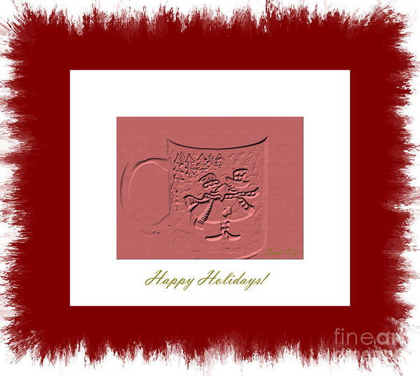 Cup Poster featuring the digital art Happy Holidays by Oksana Semenchenko
