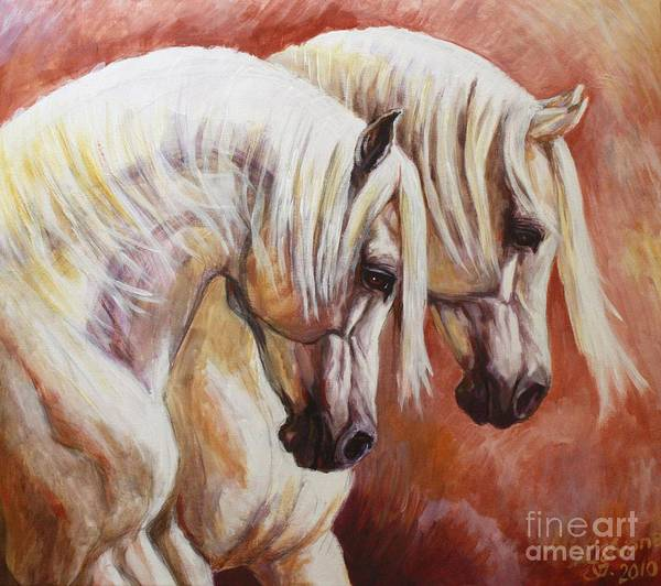 Arab Horses Poster featuring the painting Arab Horses by Silvana Gabudean Dobre