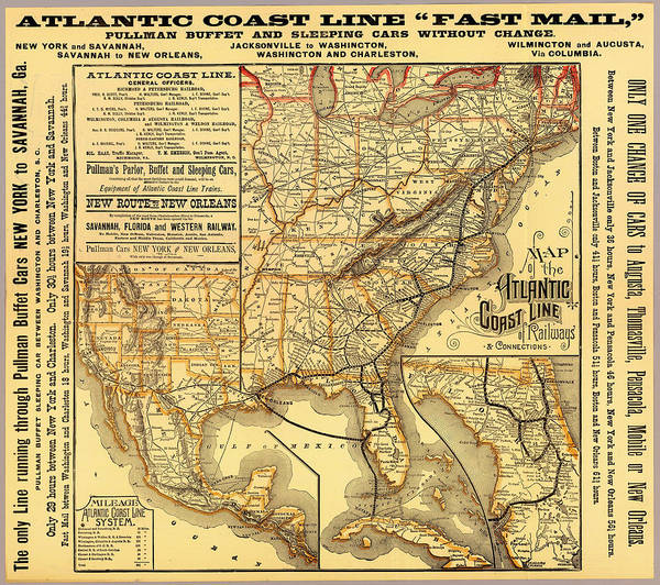 Map Poster featuring the drawing Atlantic Coast Line Railway Map 1885 by Mountain Dreams