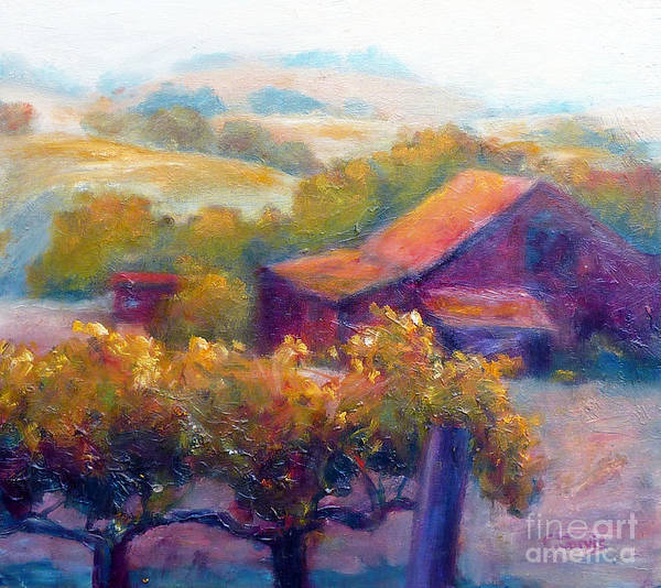 Winery Poster featuring the painting Barn Vineyard by Carolyn Jarvis
