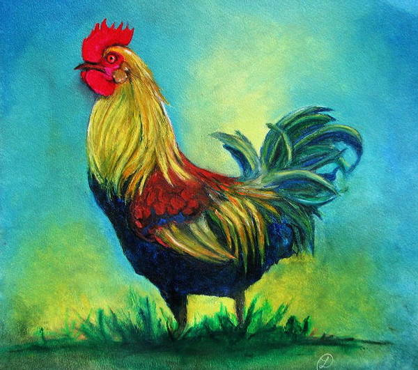 Animal Poster featuring the pastel Caroles' Rooster by Linda Weldon