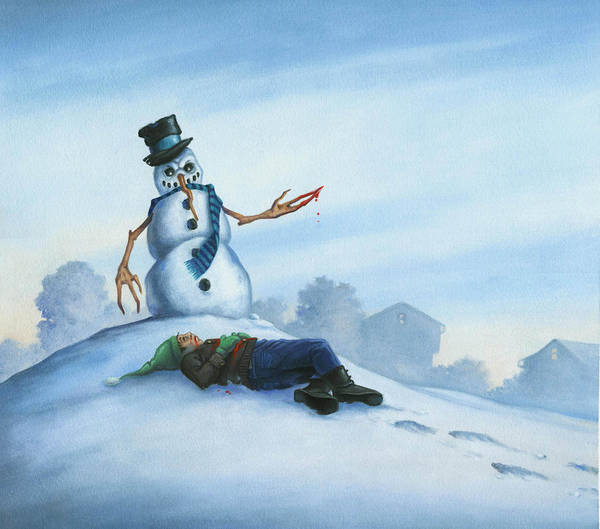 Snowman Poster featuring the painting Dont Fuck With Frosty For He Can Really Ruin That Holiday Spirit by Stacy Drum