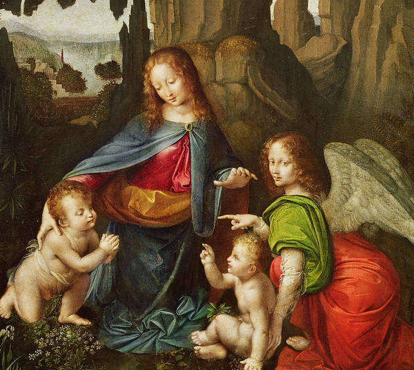 Virgin Mary; Infant Christ; Jesus; St; John The Baptist; Child; Mother; Saint; Landscape; Angel; Renaissance; Blessing; Praying Poster featuring the painting Madonna Of The Rocks by Leonardo da Vinci
