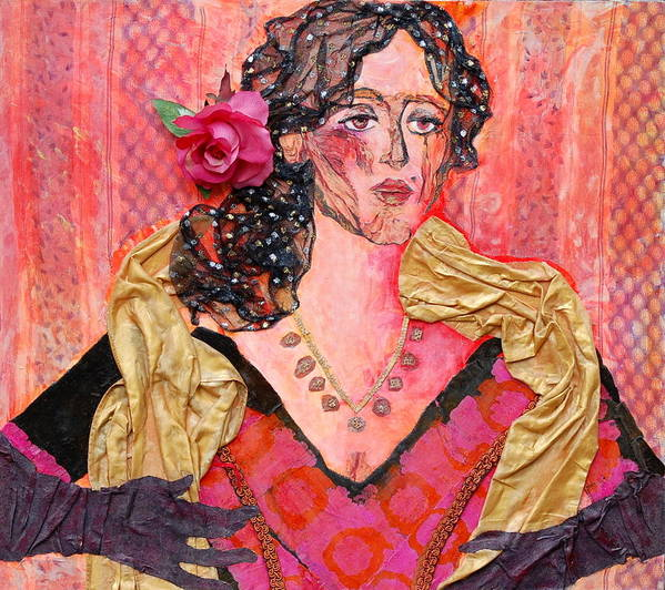 Flower In Hair Poster featuring the mixed media Mrs. Dedlocke by Diane Fine