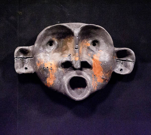 Sculpture Poster featuring the sculpture Nico Black And Orange Mask by Mark M Mellon