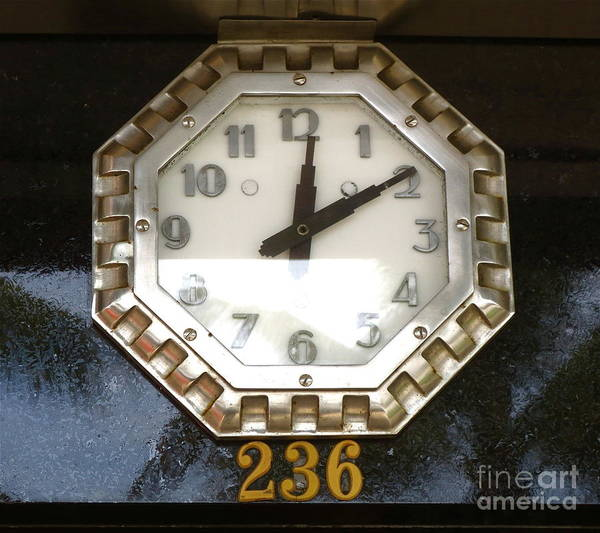 Old Decco Store Clock At 236 Worth Ave. Poster featuring the photograph Old Decco Store Clock At 236 Worth Ave Palm Beach Fl by Robert Birkenes