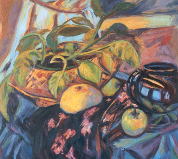 Still Life Poster featuring the painting Pollys Plant by Kendall Kessler