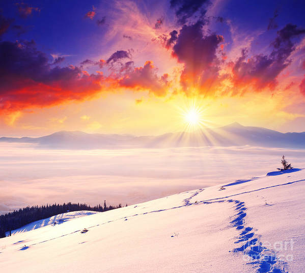 Sunset Poster featuring the photograph Sunset In The Winter by Boon Mee