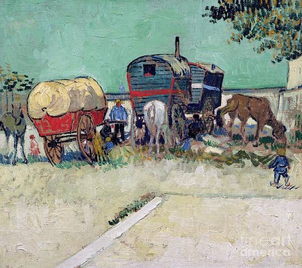 Post-impressionist Poster featuring the painting The Caravans  Gypsy Encampment Near Arles by Vincent Van Gogh