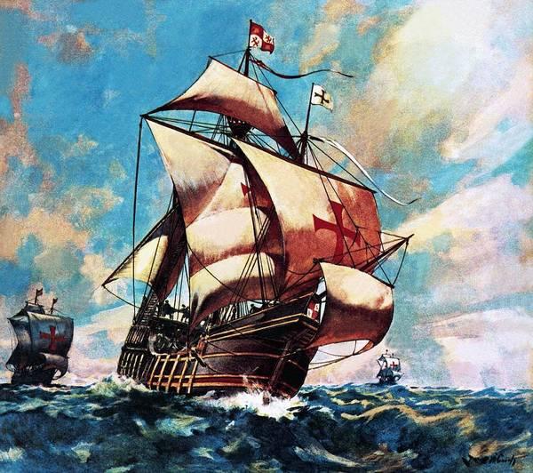 Ships; Boats; Ocean; Sailing Ship; Santa Maria; Christopher Columbus; Nao; Atlantic; Watling Island; Exploration; Discovery; Waves; Sea; Sails; Spanish Poster featuring the painting The Santa Maria by James Edwin McConnell