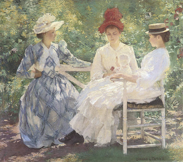 Edmund Charles Tarbell Poster featuring the painting Three Sisters-a Study In June Sunlight by Edmund Charles Tarbell