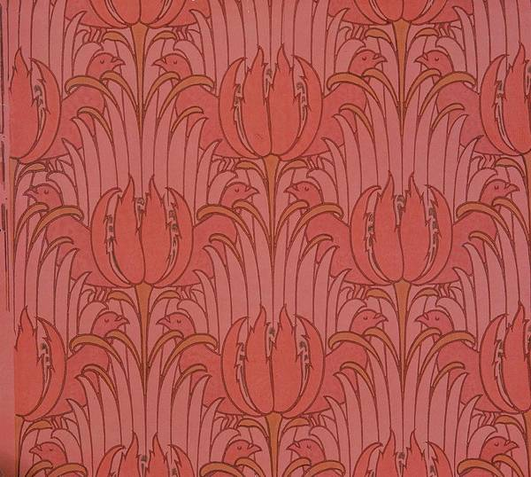 Pattern Poster featuring the tapestry - textile Wallpaper Design by Victorian Voysey