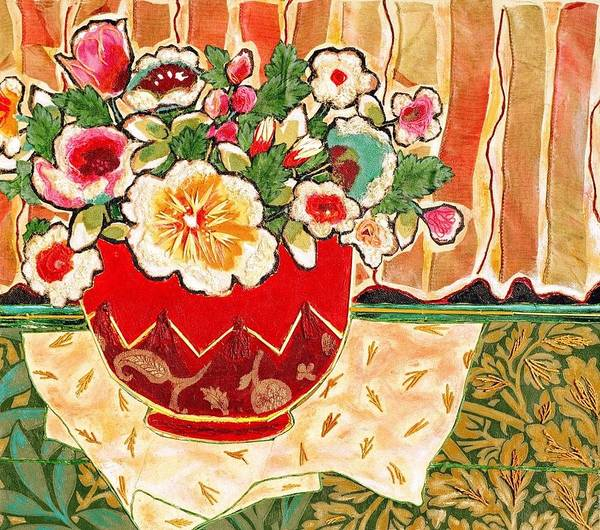 Still Life Poster featuring the mixed media Bowl And Blossoms by Diane Fine