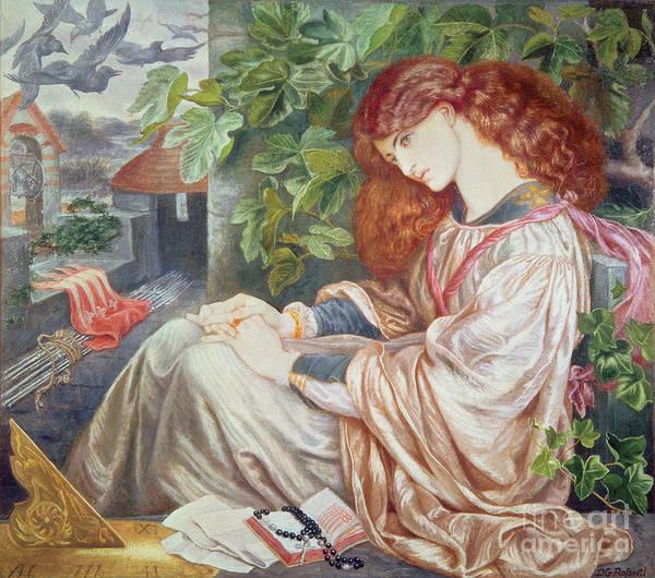 Pre-raphaelite; Woman; Female; Sundial; Crows; Prison; Imprisoned; Rosary; Jane Morris; Book; Fig Tree; Pious Poster featuring the painting La Pia De Tolomei by Dante Charles Gabriel Rossetti
