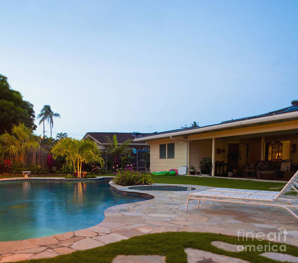 Beach Chair Poster featuring the photograph Luxury Backyard Pool And Lanai by Inti St. Clair