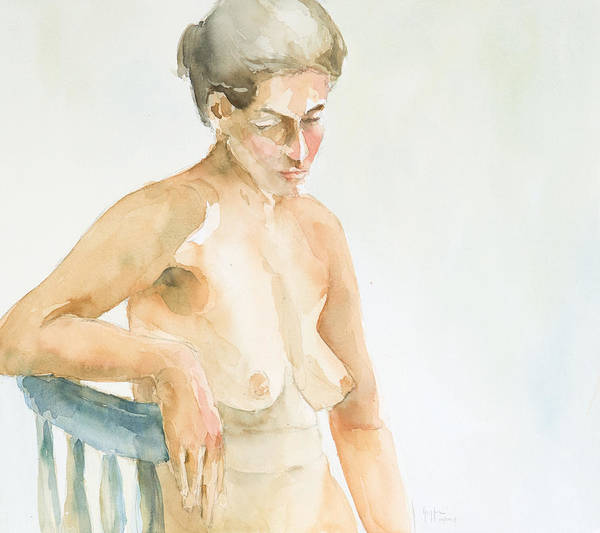 Nude Woman Poster featuring the painting Nude Series by Eugenia Picado